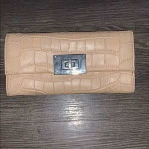Michael Kors beige leather alligator style wallet